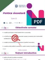 Curs 11 - Politica Monetara