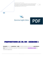 Ejercicio 1 - Preposiciones at, In, On
