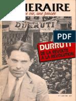 Itinéraire une vie une pensée n°1 juin 1987- - Durruti de la révolte à la révolution