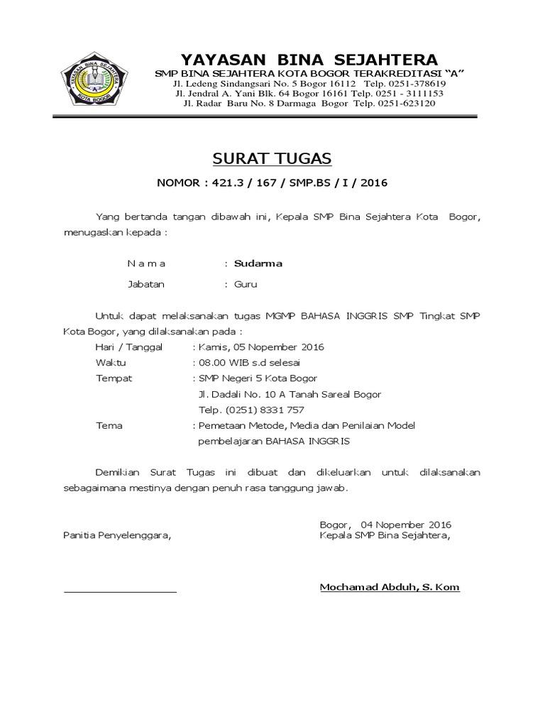 Contoh Surat Tugas Mgmp Bahasa Inggris