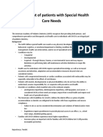 Management of Patients With Special Health Care Needs
