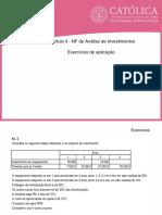 ESB - EG - Cap. 4 - NF Análise de Investimentos - Exercícios