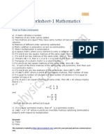 Matrices Worksheet 1