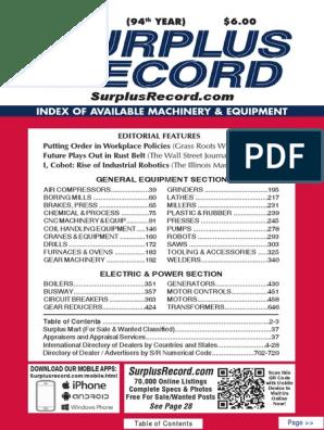 July 2018 Surplus Record Machinery Equipment Directory