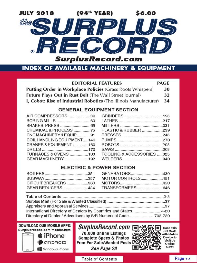 JULY 2018 Surplus Record Machinery & Equipment Directory