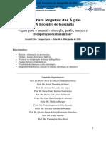 Anais Forum Regional Das Aguas 2018