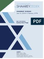 June 16, 2018 Shabbat Card