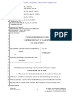 (2018-06-15) Complaint - Securities and Exchange Commission V. Elizabeth Holmes and Theranos, Inc.