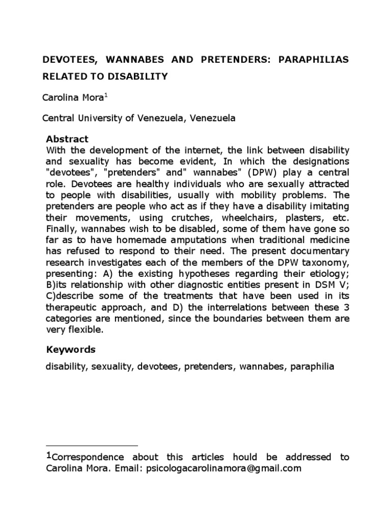 devotees wannabes and pretenders docx | Amputation | Disability