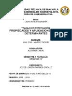 Propiedades de los determinantes y su aplicación en la Ingeniería Civil.