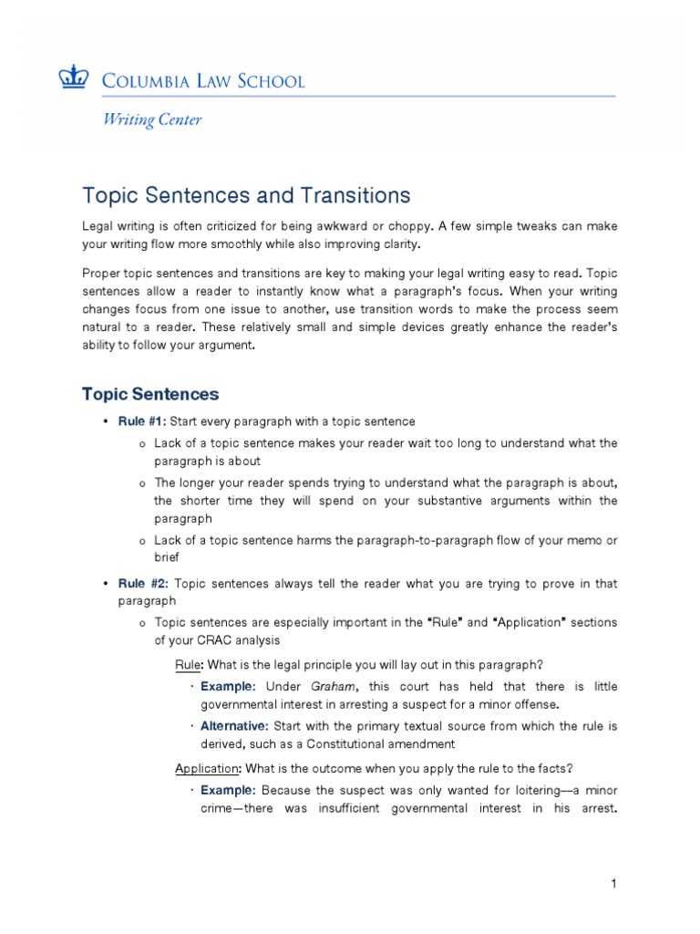 how to start a transition sentence