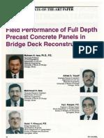 Field Performance of Full Depth Precast Concrete Panels in Bridge Deck Reconstruction