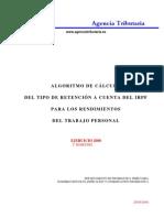 Algoritmo de cálculo del tipo de retención a cuenta del IRPF