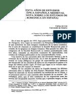 Cincuenta años de estudios de poesía épica española medieval (con una nota sobre los estudios de épica románica en España)