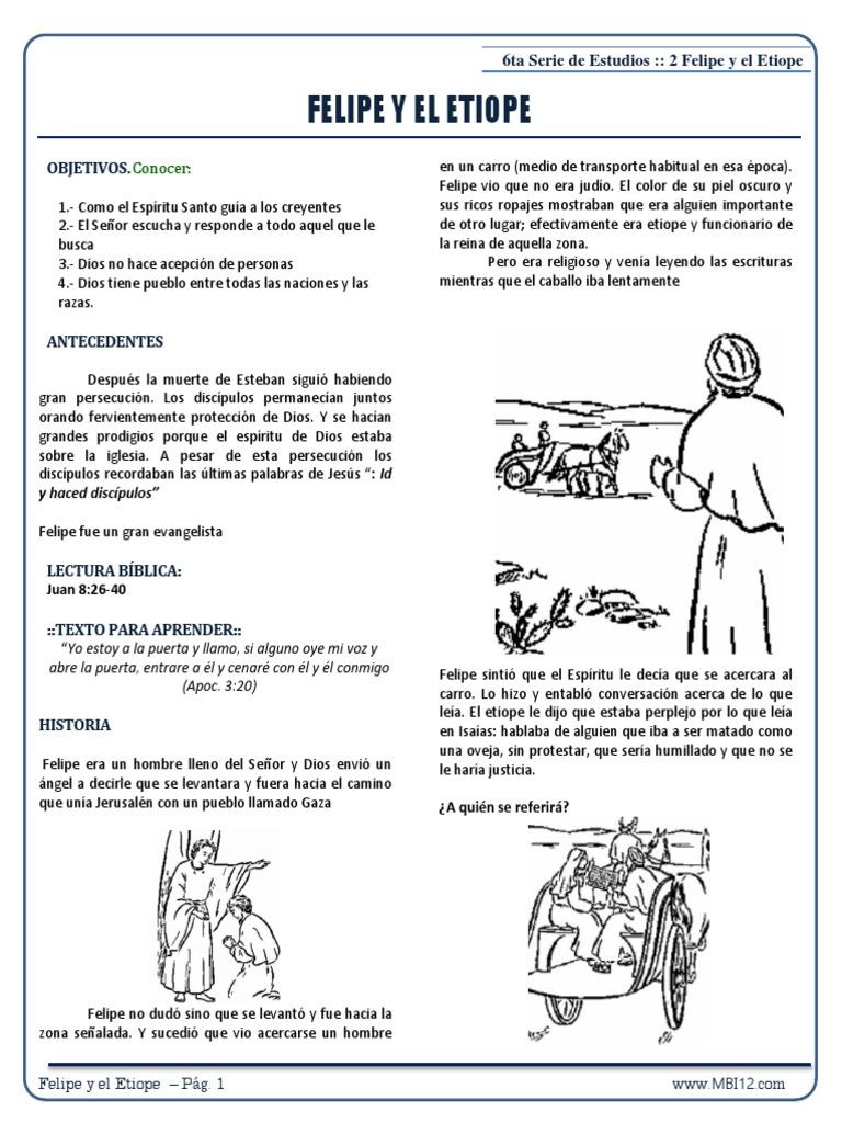 6ta Serie De Estudios 2 Felipe Y El Etiope Espíritu Santo Biblia
