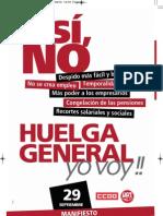 Manifiesto CCOO-UGT Huelga General