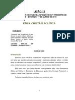 Lição 12 - Ética Cristã e Política