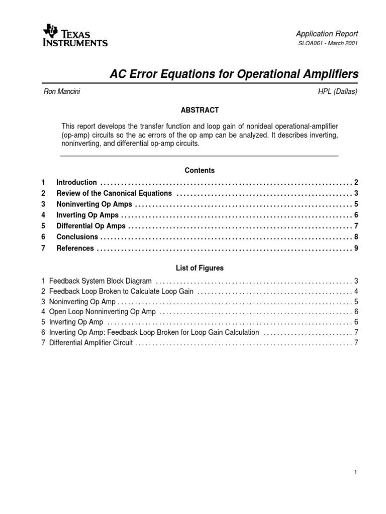 Loop Gainpdf Operational Amplifier Opamp Transferfunction