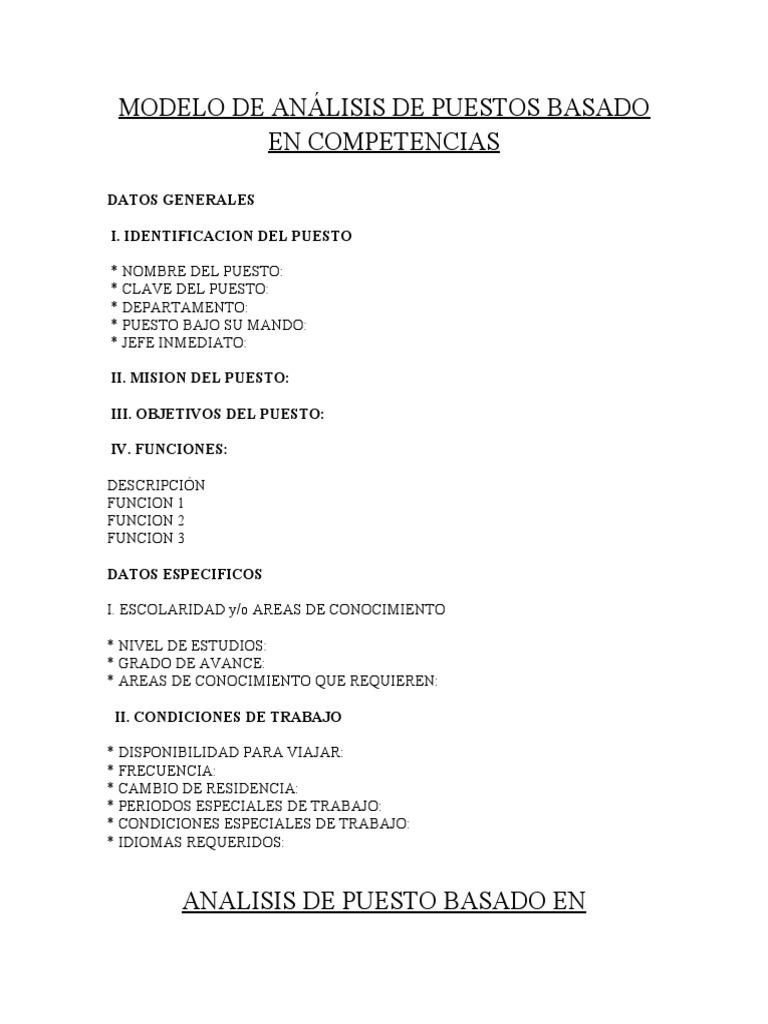 MODELO DE ANÁLISIS DE PUESTOS BASADO EN COMPETENCIAS