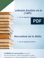 Confesión de Fe 1689 - De Las Sagradas Escrituras - Necesidad de La Biblia