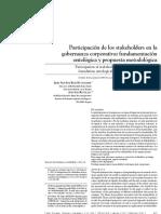 Participación de Los Stakeholders en La Gobernanza Corporativa, Fundamentación Ontológica y Propuesta Metodológica