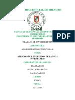 TRABAJO INVESTIGACION Aplicación y Evolución de Las NIC 2 Inventario