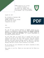 Letter to Registrar