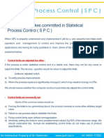 Common Mistakes Commirtted in Statistical Process Control