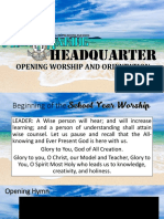 Opening Worship and Orientation