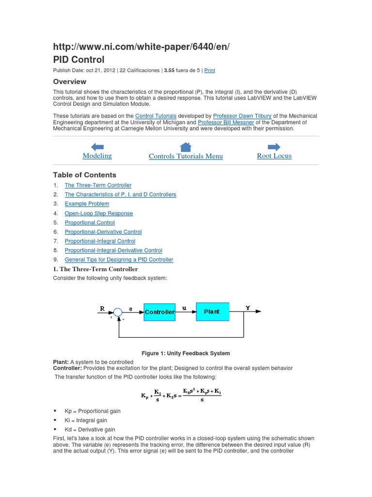 Pid Control Modeling Controls Tutorials Menu Root Locus Control Theory Computer Engineering