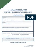 Formulaire de Demande Exceptionnelle de Mutation 2016-2017