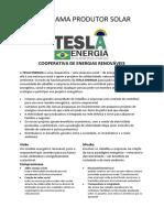 Programa Produtor Solar Cooperativa de Energias Renováveis Teslaenergia.com.Br