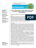 Impact of Hemodialysis on lipid profile among chronic renal failure patients (Regular and Non–Regular Haemodialysis). The Pharma Innovation Journal; 2018;7(4)