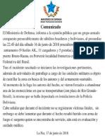 Comunicado del Ministerio de Defensa sobre el robo de armamento militar