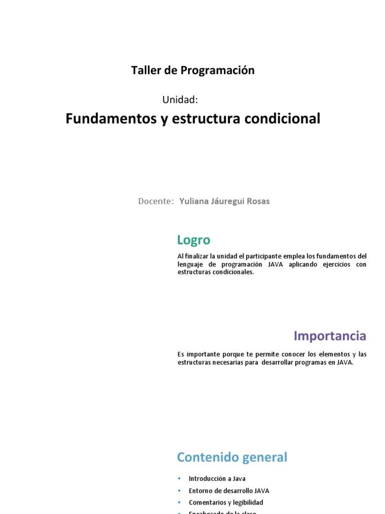 U1 Fundamentos Estructura Condicional Ultimo Java