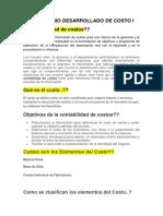 Cuestionario de Costos i - Preguntas y Respuestas.