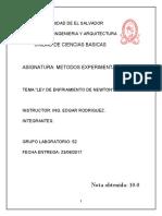"""INFORME FINAL AMCE-2017_Ley Del Enfriamiento de Newton"""""""