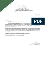 Letter Request for Badminton