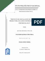 Proyecto de instalacion de una planta productora de Acido Forforico