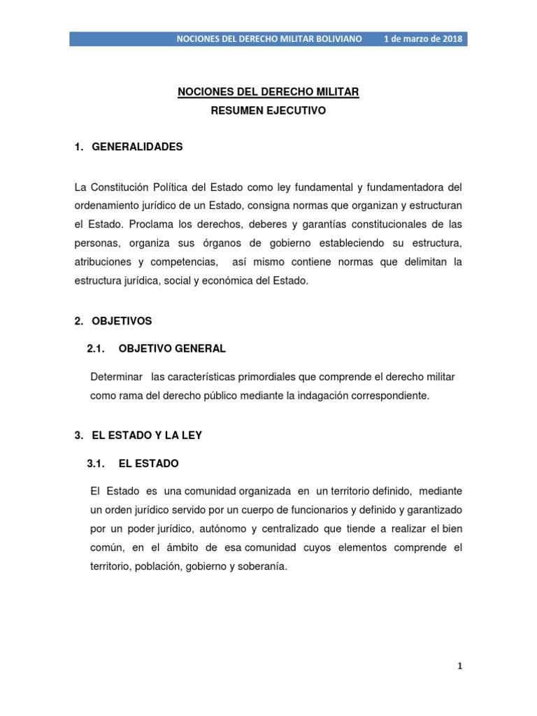 Resumen Ejecutivo Nociones Del Derecho Militar Docx Estado