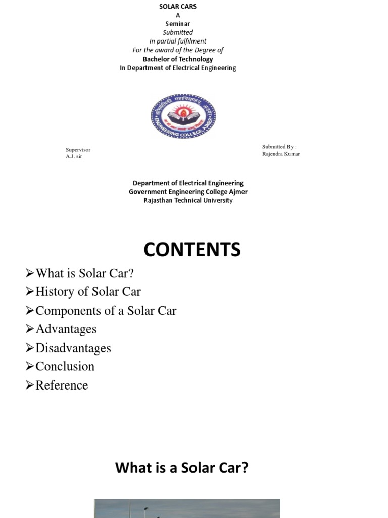 conclusion of solar car