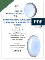 Informe de hidrometalurgia N°3