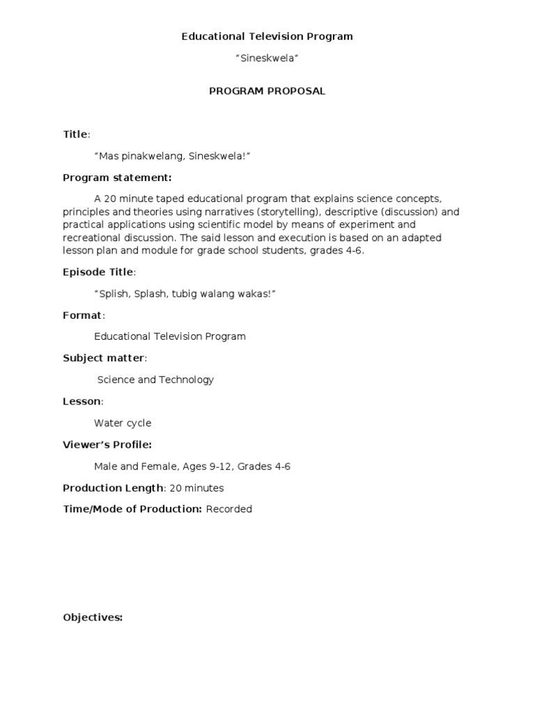 Concept Proposal   ETV Program | Television Programs | Concept