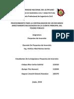 Procedimiento Para La Centralizacion de Los Recursos Directamente Recaudados en La Cuenta Principal Del Tesoro Publico