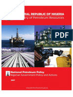 National Petroleum Policy Approved by FEC in July 2017