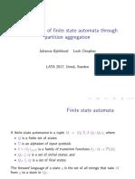 Minimization of Finite State Automata Through Partition Aggregation