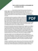 Solucion Contra El Acoso Callejero en La Ciudad de Lima