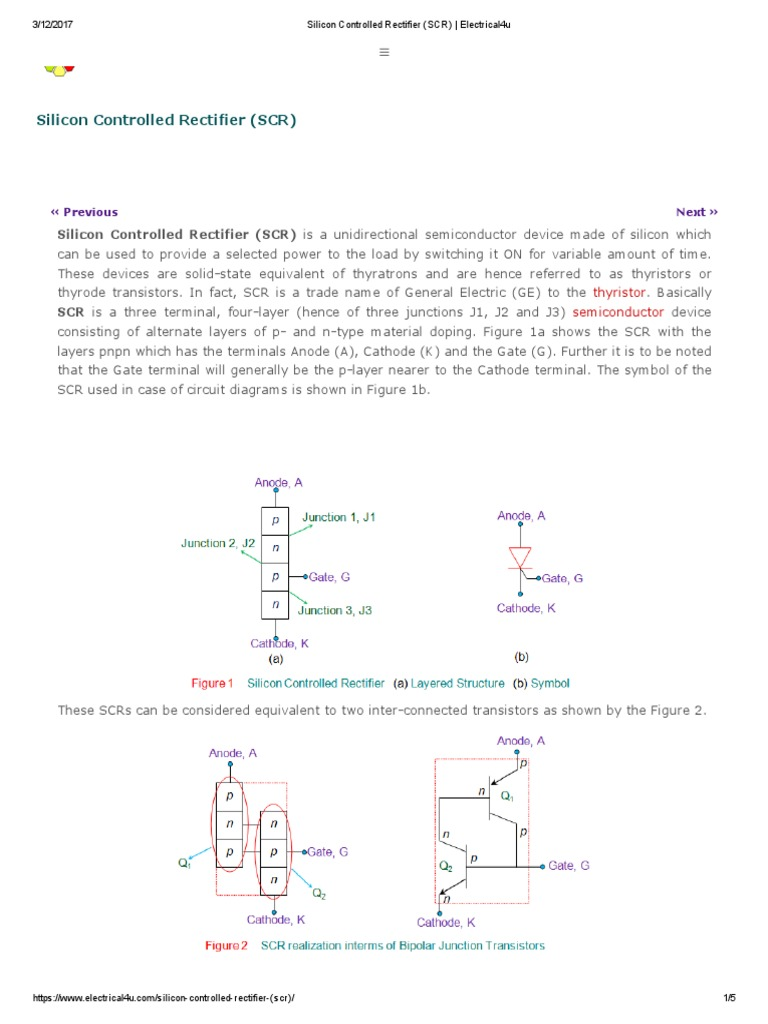 Silicon Controlled Rectifier Scr Electrical4u Field Effect Mos Thyristor Mct Electronic Circuits And Diagram Transistor Power Electronics