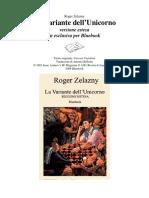 Zelazny, Roger - La Variante Dell'Unicorno_VERSIONE_ESTESA