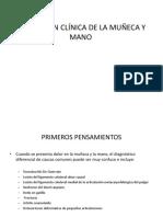 Evaluación Clínica de La Muñeca y Mano